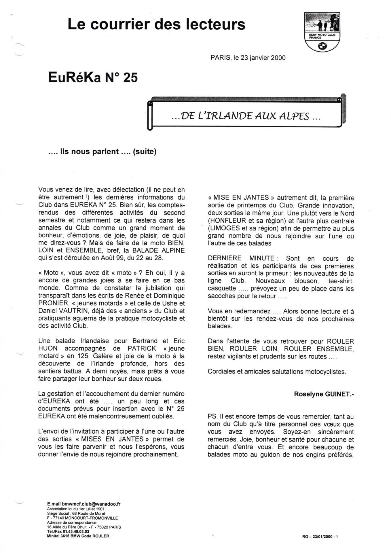 Eureka n 25 courrier lecteur page 1